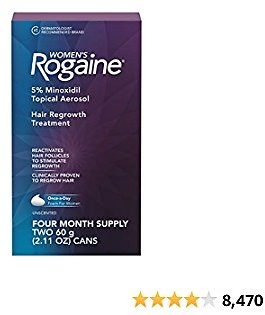 Women's Rogaine 5% Minoxidil Foam for Hair Thinning and Loss, Topical Treatment for Women's Hair Regrowth, 4-Month Supply