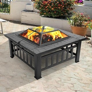 Zimtown 32-in Metal Portable Courtyard Fire Pit W/Accessories