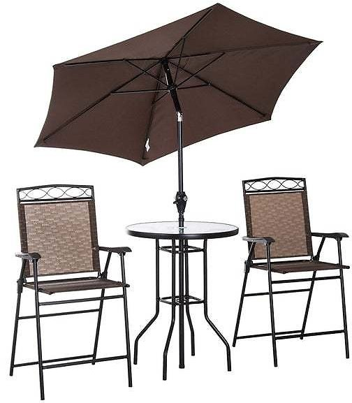 Outsunny 4 Piece Folding Outdoor Patio Pub Dining Table & Chairs Set With 6' Adjustable Tilt Umbrella & Glass Table