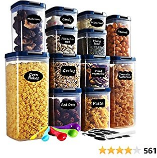 Food Storage Container with Lids Airtight, AUCEE 12PCS BPA-Free Dry Food Plastic Storage Containers Set Kitchen Pantry Organization and Storage with 24 Labels/ 1 Marker/ 5 Measuring Spoon
