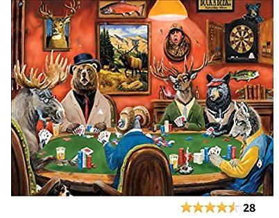 Jigsaw Puzzles for Adult Kids 1000 Piece, Animals Psychedelic Poker Game Puzzles for Teenagers and Adults DIY Intellectual Educational Decompressing Toy Fun Family Puzzles Game