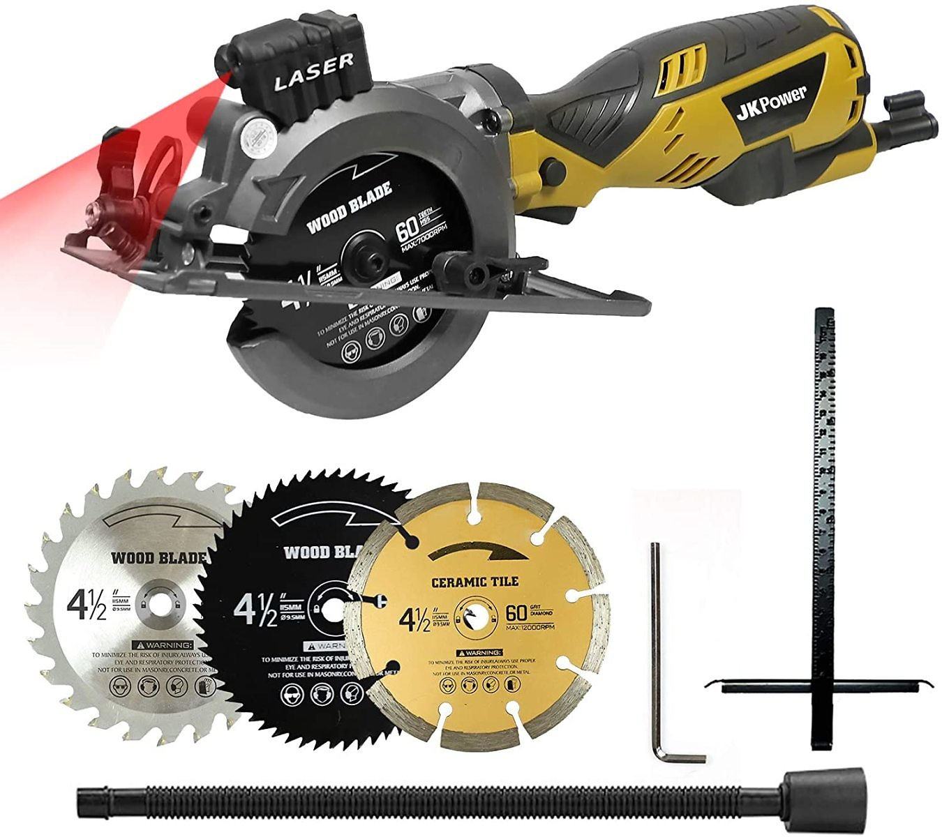 Mini Circular Saw with Laser Guide, 3 Blades(4-1/2
