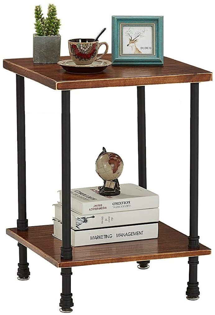 Extra 30% Off 2-Tier Industrial Metal End Table with Storage Shelf for Living Room