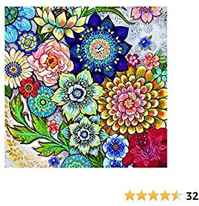 Diamond Painting Kits for Adults, 5D Full Drill Round Gem Paint Kit By Numbers, Flower Arts Craft for Home Wall Decor(Multi-Color, 11.8Wx11.8L)