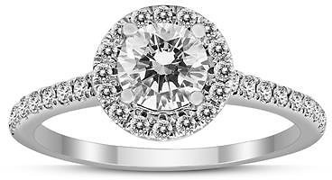 Deal of The Week - Signature Quality (H-I Color, SI1-SI2 Clarity) 1 Carat TW Diamond Halo Ring in 14K White Gold - RGF59344