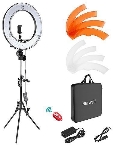 Neewer Camera Photo Video Lightning Kit: 18 Inches/48 Centimeters Outer 55W 5500K Dimmable LED Ring Light, Light Stand, Bluetooth Receiver for Smartphone, Youtube, TikTok Self-Portrait Video Shooting - Newegg.com