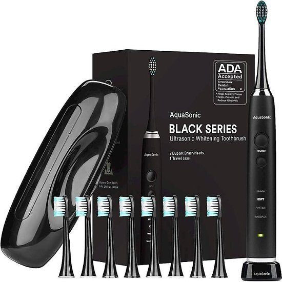 AquaSonic Black Series Rechargeable Electric Toothbrush Black AS-TBSH-BS