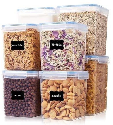 Vtopmart 8-Piece Large Food Storage Containers W/Labels