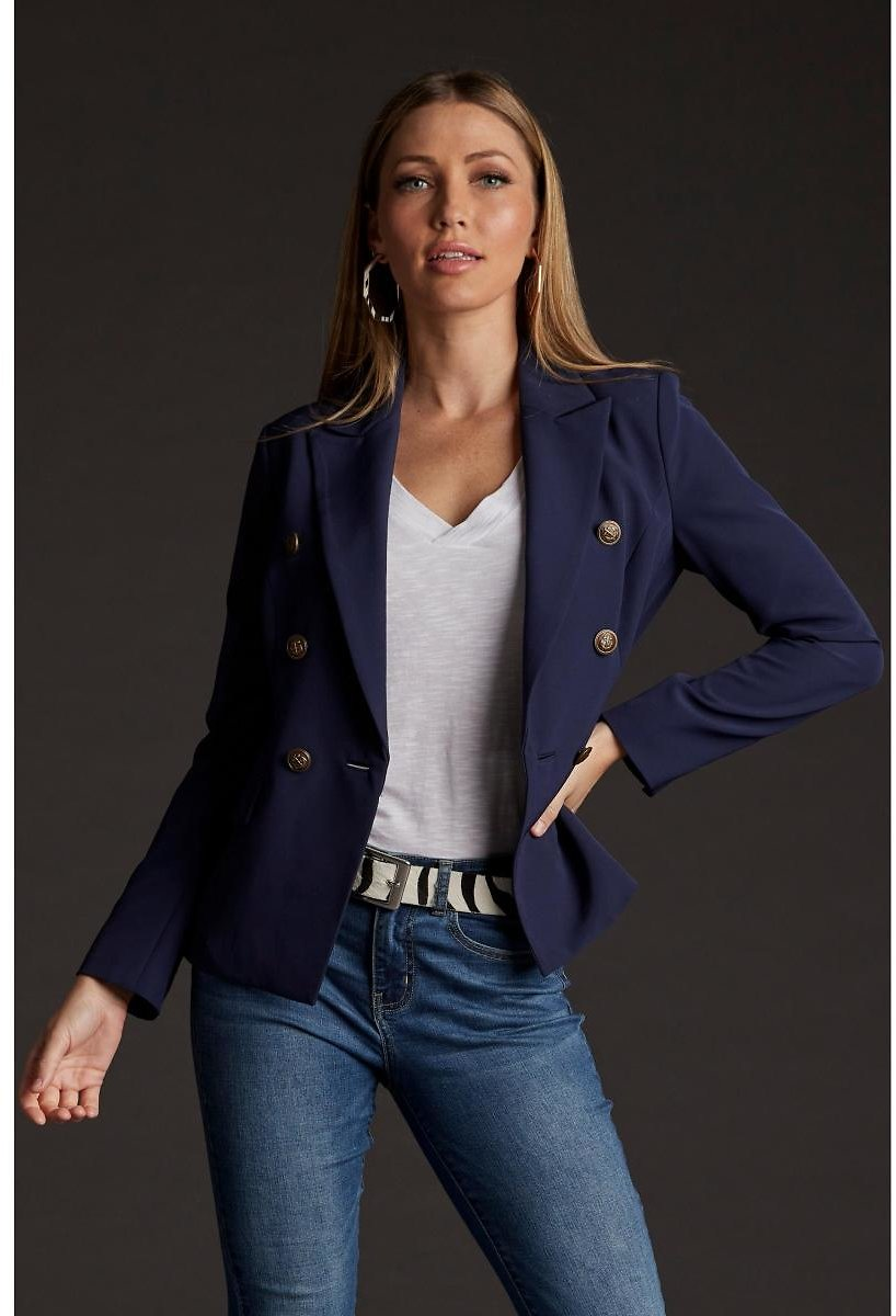 Crepe Double-breasted Blazer