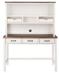 48 In. Rectangular White/Haze 5 Drawer Writing Desk with Solid Wood Material