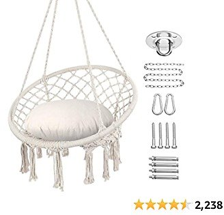 18% Off Y- STOP Hammock Chair Macrame Swing, Max 330 Lbs, Hanging Cotton Rope Hammock Swing Chair for Indoor and Outdoor Use (Be