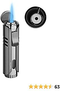 PIPITA Torch Lighter Windproof Cigar Butane Gas Lighter Jet Single Flame Cigarette Lighter, Adjustable Flame and Refillbale Fuel Metal Lighter (Butane Not Included) (Black)
