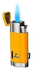 PIPITA Torch Lighter Windproof Cigar Lighter Triple Blue Flame Butane Gas Refillable Lighter Cigarette Lighter with Punch (Yellow): Health & Personal Care