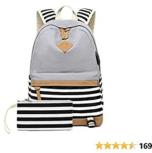 Girls Canvas School Backpack with USB Charging Port Casual Stripe Backpack for Boys (Grey)