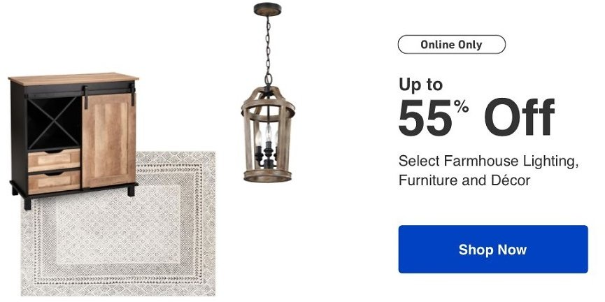 Up to 55% Off Farmhouse Lighting, Furniture and Decor