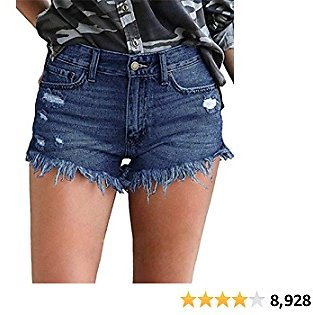 ODARANI Cut Off Denim Shorts for Women Frayed Distressed Jean Short Cute Mid Rise Ripped Hot Shorts Comfy Stretchy