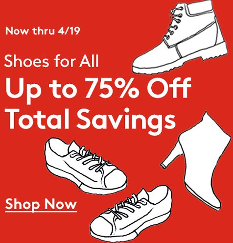 Up To 85% Off Shoes For All + Extra 25% Off