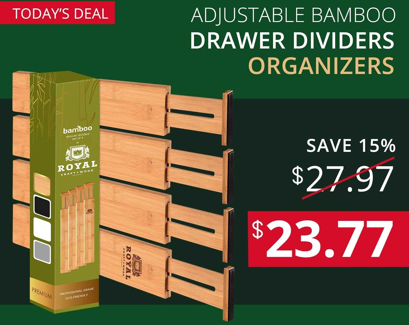 🎁 Lightning Deal -15%OFF 🎁 Adjustable Bamboo Drawer Dividers Organizers
