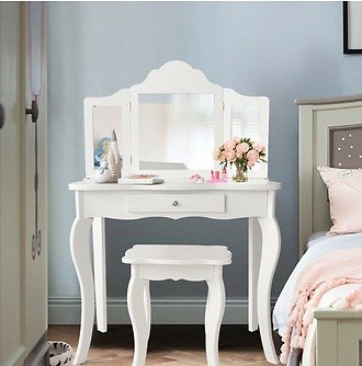 Costway Vanity Table Set Makeup Dressing Table Kids Girls Stool Mirror