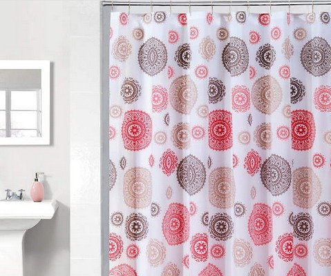 Red & Tan Medallions PE Shower Curtain