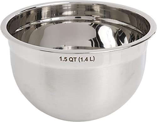 Stainless Steel Deep Mixing Kitchen Metal Bowls for Baking & Marinating, Dishwasher-Safe, 1.5 Quart