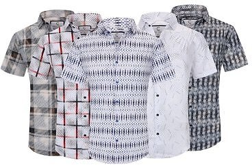 Sulso Couture Men's Printed Foil Short Sleeve Shirt