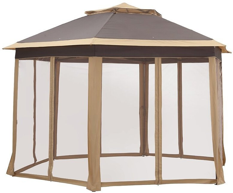 Outdoor 6-Sided With Sidewalls, Double-Roofed & Extended Eaves 13 Ft. W X 13 Ft. D Steel Pop-Up Canopy