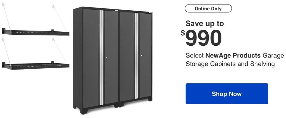 Up to $990 Off Garage Storage Cabinets and Shelving