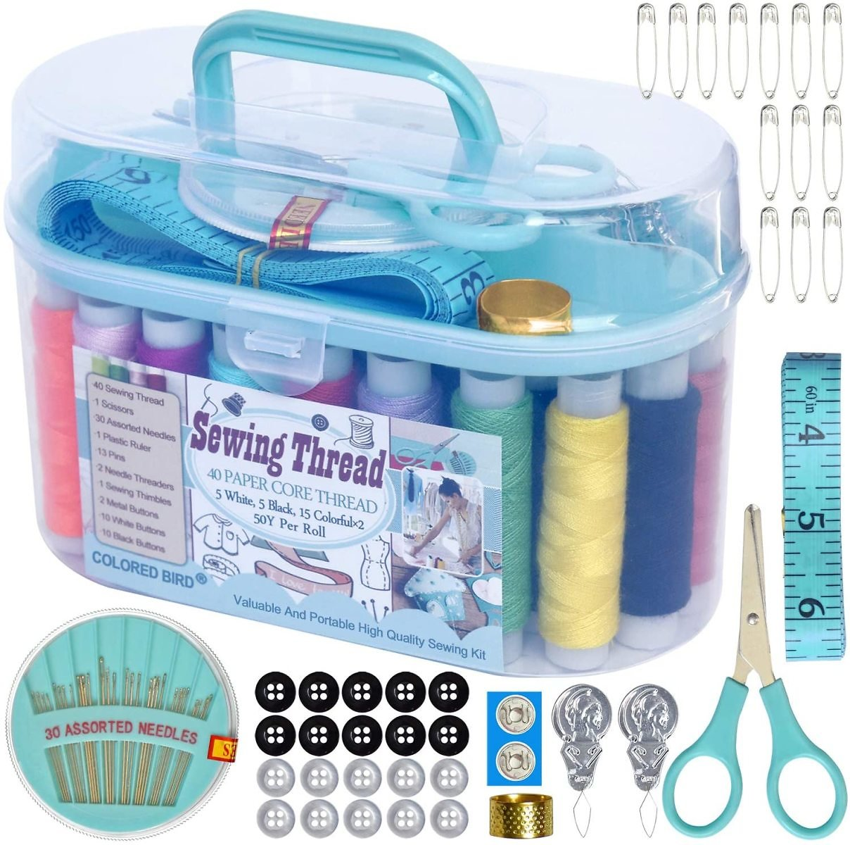 30 Colorful Spools Thread Sewing Project kit