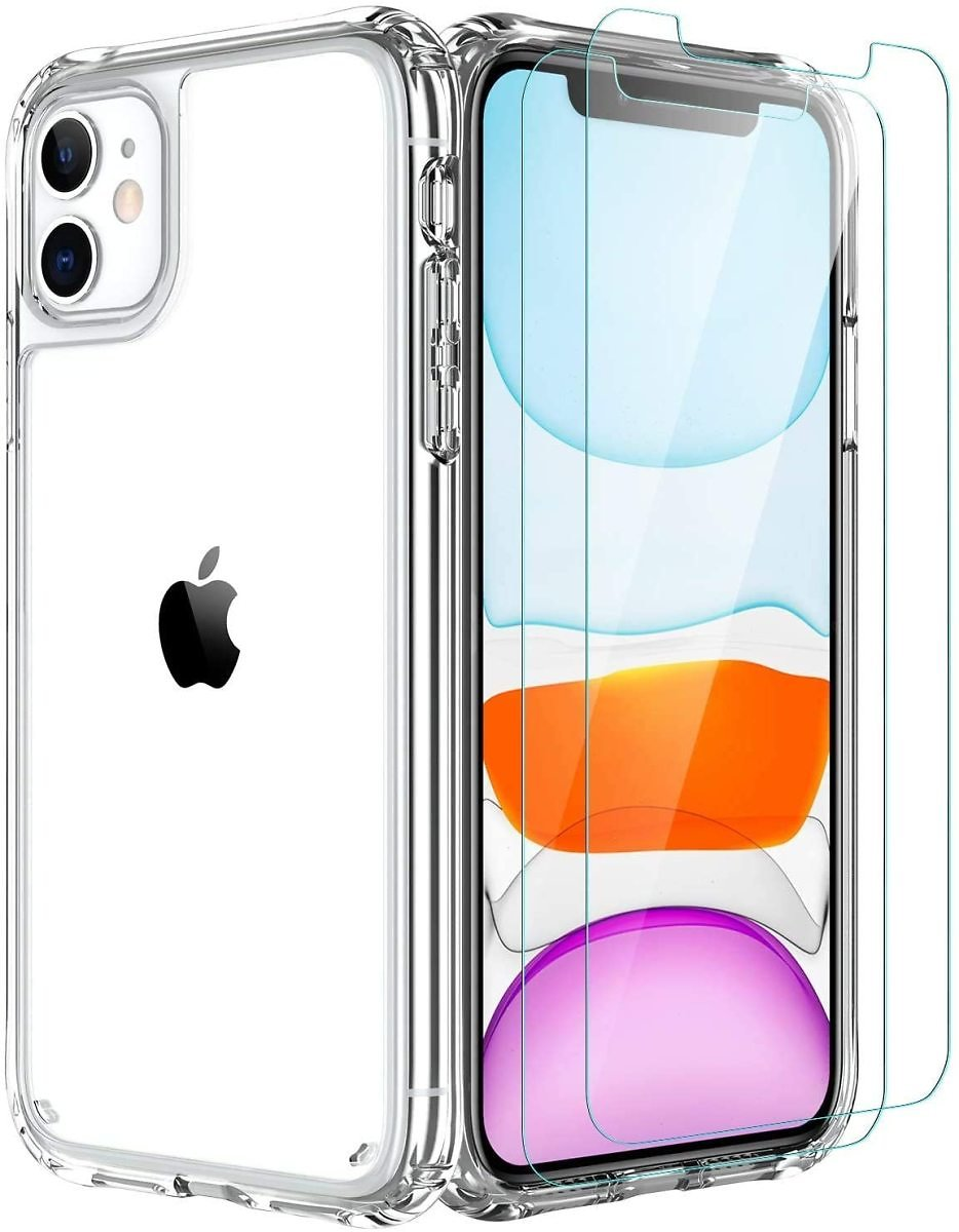 AEDILYS Compatible with Iphone 11 Case [Airbag Series] with [2 X Tempered Glass Screen Protector] [Military Grade ], 15Ft. Drop Tested [Scratch-Resistant], Wireless Charging, 6.1 Inch- Clear