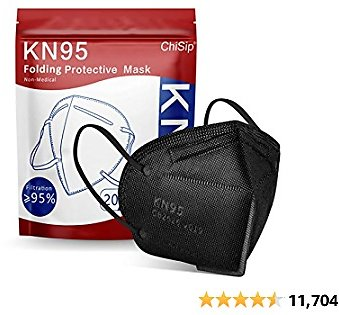KN95 Face Mask 20 PCs, 5-Ply Cup Dust Safety Masks, Breathable Protection Masks Against PM2.5 for Men & Women Filter Efficiency≥95%, Black