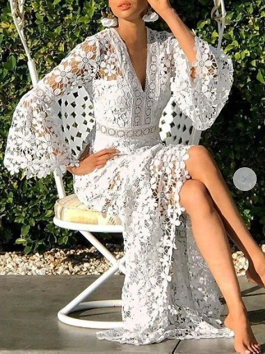 Guipure Lace Eyelet Sexy Maxi Dress | Dresses | Stylewe Prom Dresses Sexy Dresses Prom A-Line V Neck Bell Sleeve Guipure Lace Sexy Dresses | Stylewe