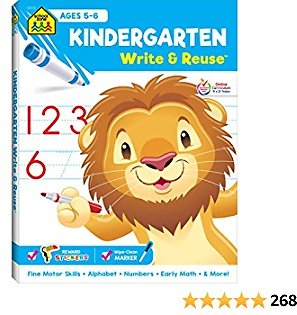 School Zone - Kindergarten Write & Reuse Workbook - Ages 5 to 6, Spiral Bound, Write-On Learning, Wipe Clean, Includes Dry Erase Marker, Early Math, and More (School Zone Write & Reuse Workbook)