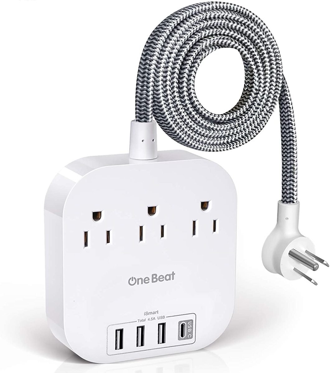 Power Strip with USB C, 3 Outlets 4 USB Ports (22.5W/4.5A) Desktop Charging Station, Flat Plug, 5ft Braided Extension Cord