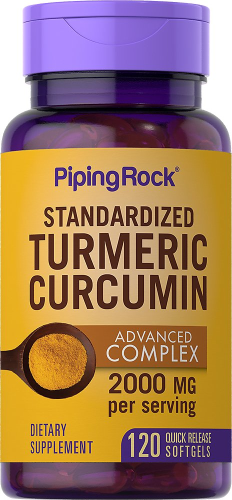 Turmeric Curcumin Advanced Complex Standardized Extract, 2000 Mg (per Serving), 120 Softgels | Piping Rock Health Products