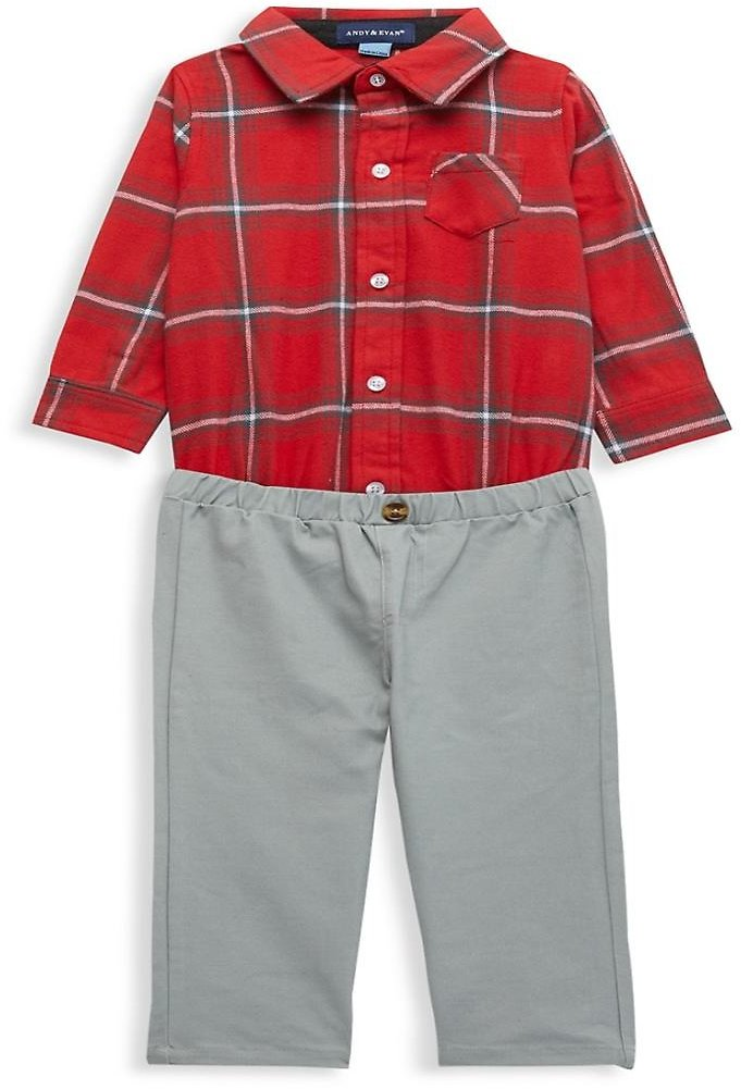 Andy & Evan Baby Boy's 2-Piece Plaid Bodysuit & Pant Set On SALE | Saks OFF 5TH