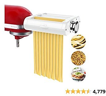 ANTREE Pasta Maker Attachment 3 in 1 Set for KitchenAid Stand Mixers Included Pasta Sheet Roller, Spaghetti Cutter, Fettuccine C