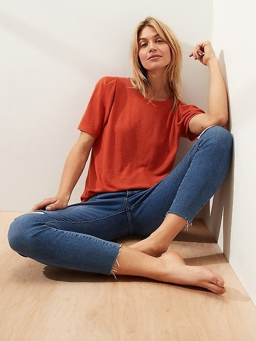 Linen Blend Pleated Shoulder Top, Size XS in 3 Colors