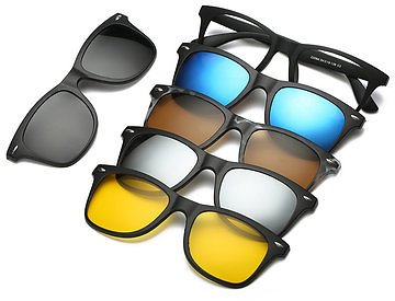 5 in 1 TR-90 Polarized Clip On Magnetic Lens Sunglasses
