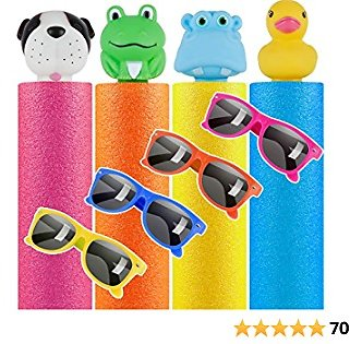 TEPSMIGO Water Guns for Kids, 8 Pcs Pool Toys - 4 Pack Foam Water Squirt Guns with 4 Pack Kids Sunglasses for Party Favors, Water Toys for Swimming Pool Backyard Fun Summer Party