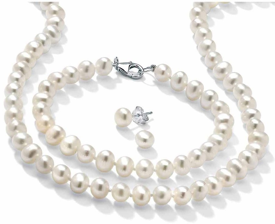 3 Piece Cultured Freshwater Pearl Necklace Bracelet and Earrings Set