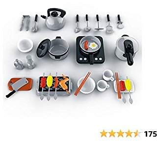 Funyole Kitchen Pretend Play Toys for Kids, Play Cooking Set Including Pots and Pans, Cutting Play Food and Other Cooking Utensils Accessories, Learning Gift for Toddlers Girls Boys Ages 3+