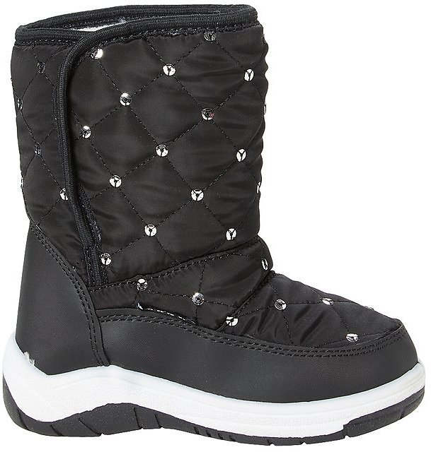 Black Dot Quilted Snow Boot -Quilted Snow Boot