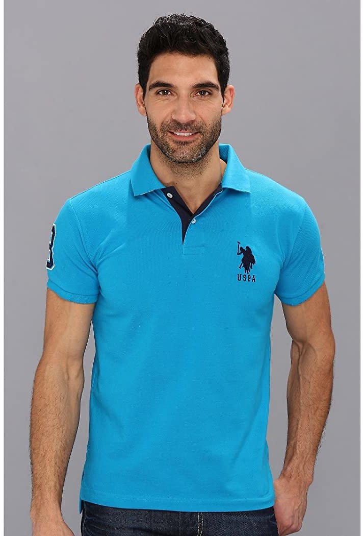 U.S. POLO ASSN. Slim Fit Big Horse Polo with Stripe Collar