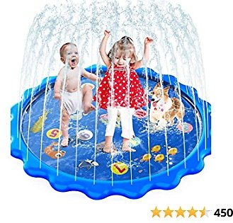 MOZOOSON Splash Pad for Kids Sprinkler Outdoor Inflatable Water Toys for Toddler Kids Ab 3 Year Old, Slip N Slide for Girls Boys Dogs 0.5mm Thickness,Outside Wading Pool for Learning Toys