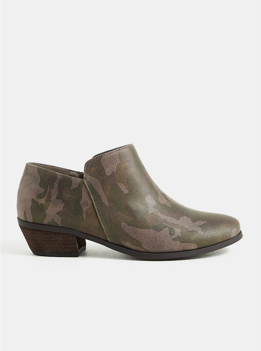 Camo Faux Suede Ankle Bootie (WW)