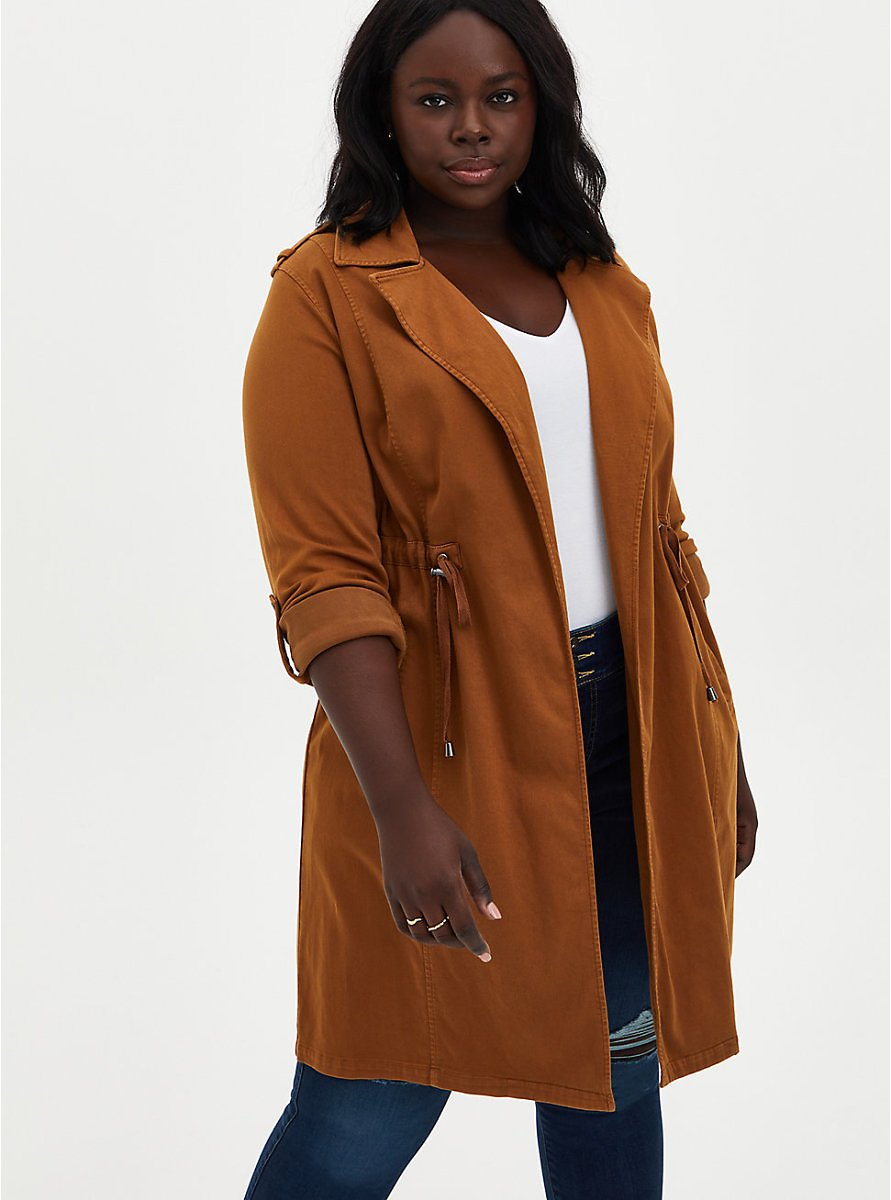 Cognac Twill Military Trench Coat