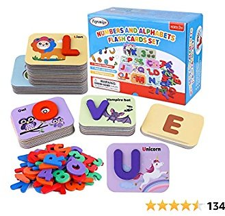 TEPSMIGO Alphabet Flash Cards Games with Wooden Number ABC Letters for Toddlers & Kids All Ages & Years Olds – Homeschool Educational Kindergarten Preschool Learning Animal Flashcards Toys Puzzle