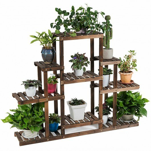 20% OFF +Free Shipping 6-Tier Flower Wood Stand Plant Display Rack Storage Shelf