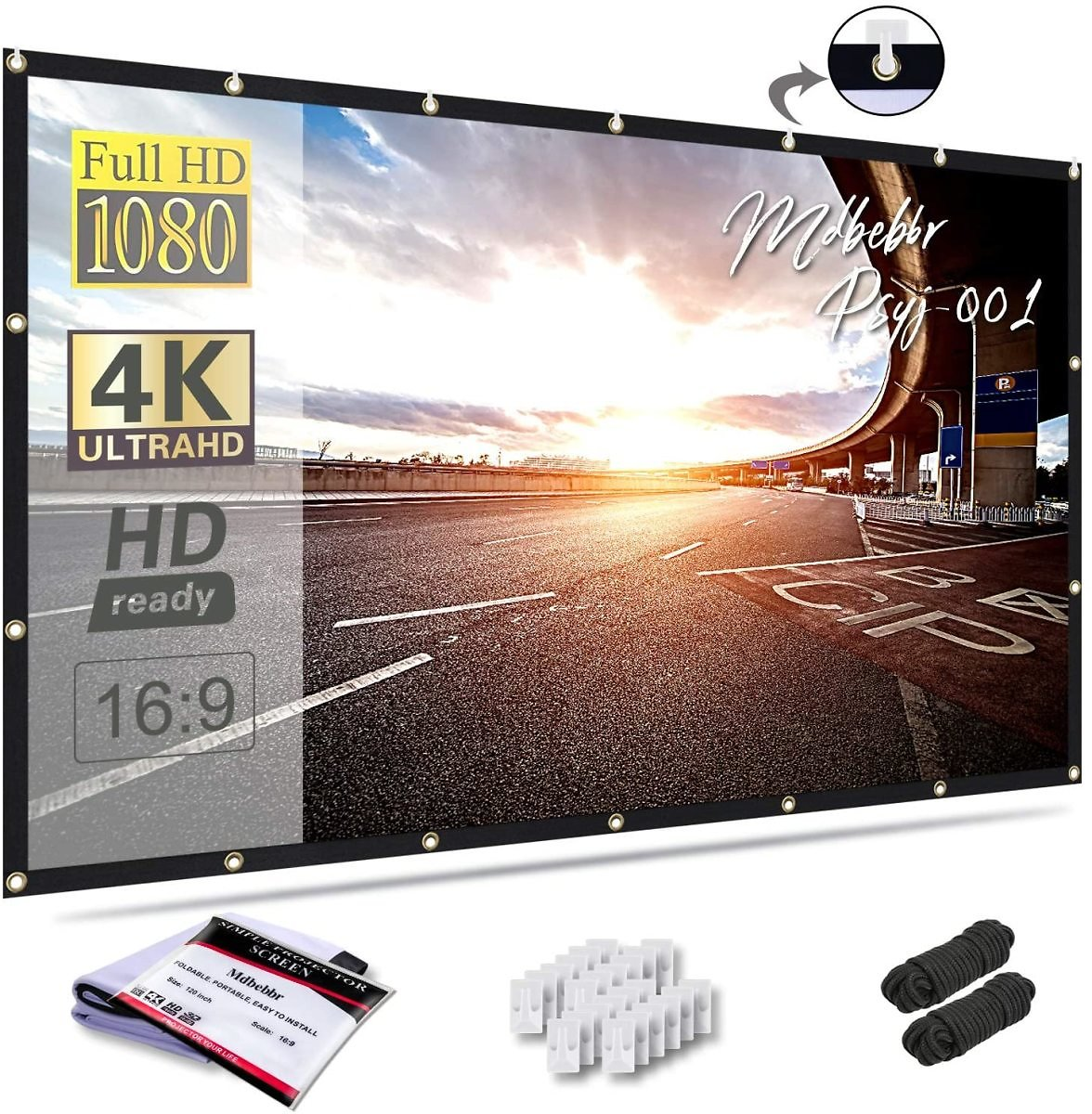 44% OFF - Mdbebbron 120 Inch Projection Screen 16:9 HD Foldable Anti-Crease Portable Projector Movies Screen